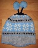 Шапка Детская Голубо-Серая с Бубонами