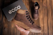 Кожаные мужские зимние кроссовки 434 серые и коричневые